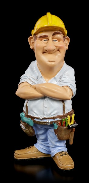 Funny Job Figurine - Construction Worker with Tool Belt