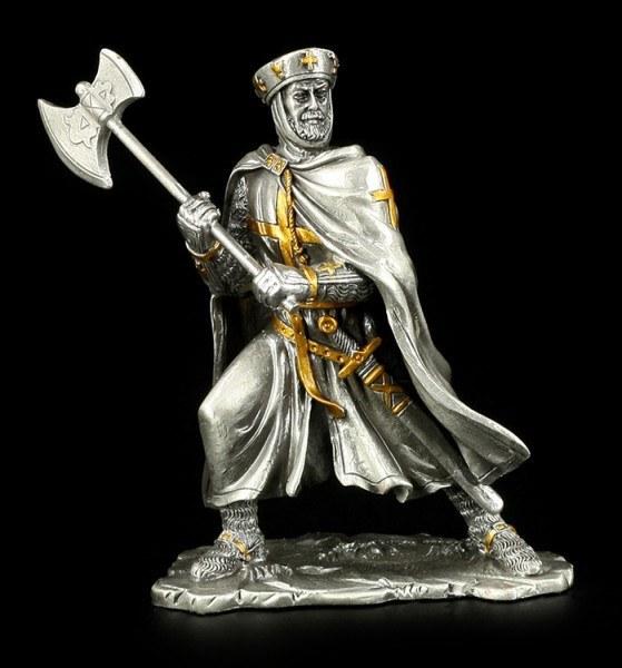 Zinn Ritter Figur mit Umhang und Axt