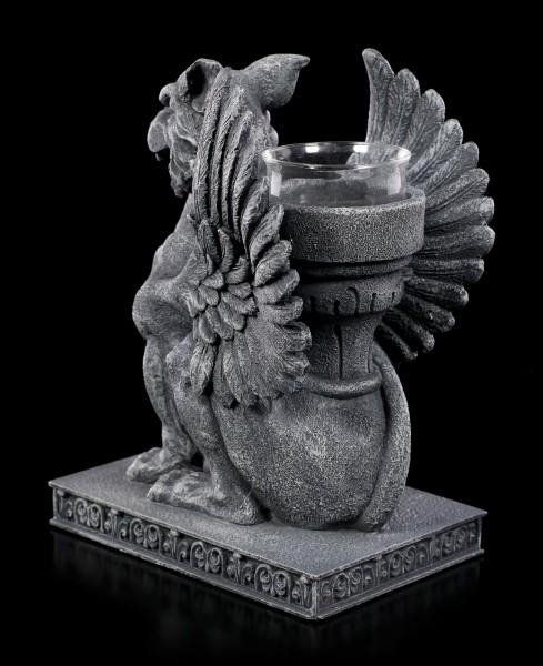 Teelichthalter - Greif mit Sanduhr