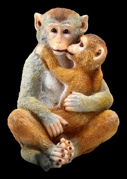Gartenfigur Affen - Baby umarmt Mama