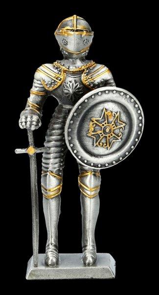 Zinn Ritter Figur mit Schwert und Rundschild