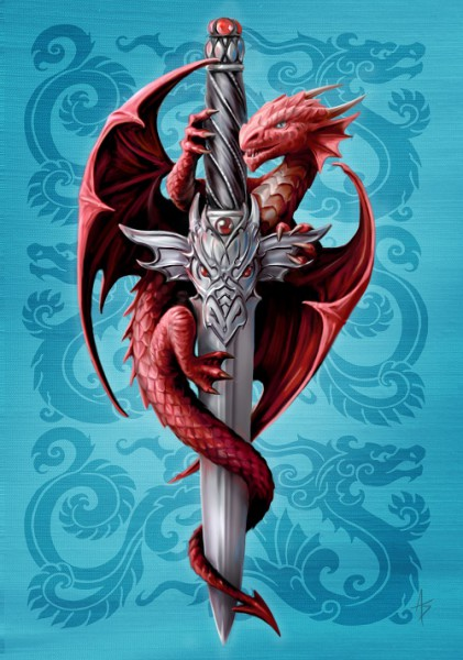 Fantasy Greeting Card - Dragon & Dagger