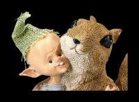 Pixie Goblin Figurine - Squirrel Cuddling