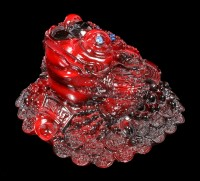 Red Money Toad Figurine with Coins
