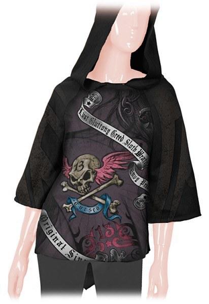Alchemy Girly Poncho mit Kapuze - Cursed