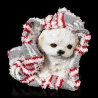 Hunde Figur in Decke eingewickelt