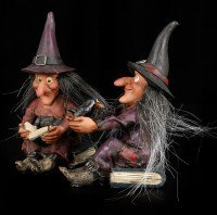 Witch Sisters Figurine with Spell Book