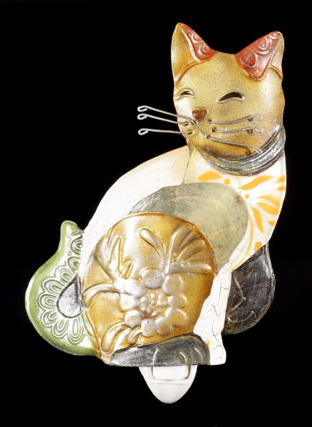 Nachtlicht - Katze aus Metall