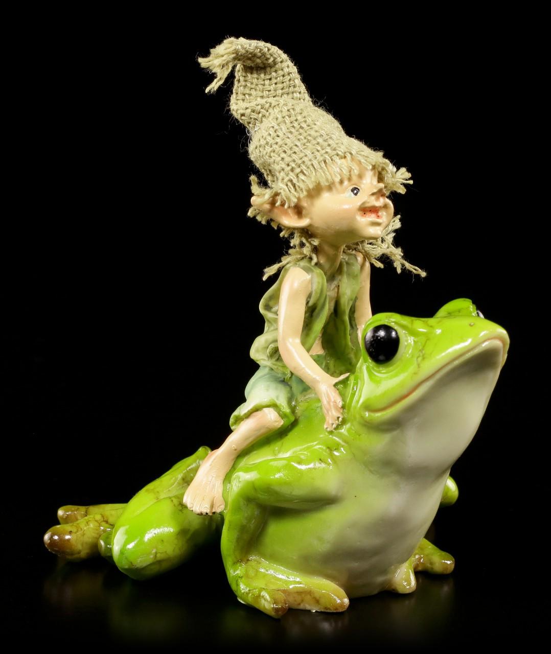 Pixie Kobold Figur reitet auf Frosch - Und hopp....!