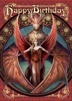 Fantasy Geburtstagskarte Drache - Copperwing