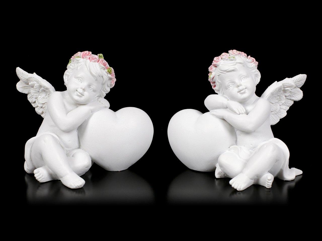 Engel Figuren - Putten mit Herz - 2er Set