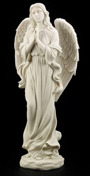 Gartenfigur - Betender Engel weiss