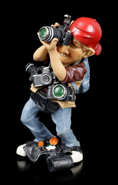 Funny Job Figurine - Paparazzo with many Cameras