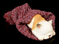 Dog Figurine asleep wrapped in bobble Cap