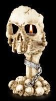 Teelichthalter - Skeletthand mit Totenkopf