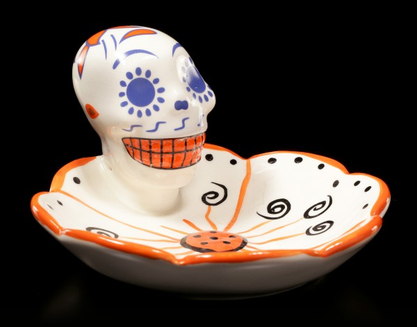 Totenkopf Schale - Day of the Dead - orange