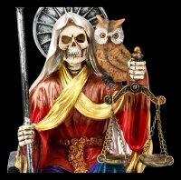 Sitzende Santa Muerte Figur - regenbogenfarben