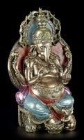 Ganesha Figur - Hindu Gottheit mit verzierter Goldkugel