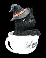 Schwarze Hexen-Katze in Tasse