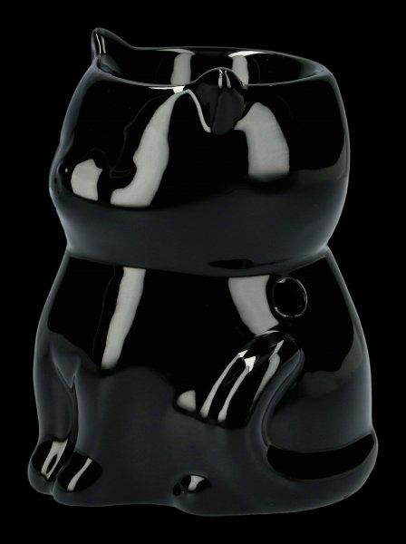 Keramik Duftlampe - Schwarze Katze