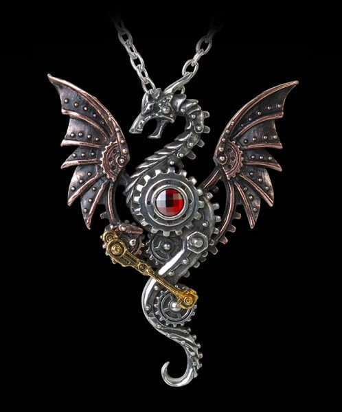 Blast Furnace Behemoth - Alchemy Steampunk Dragon Necklace