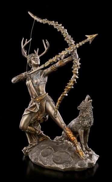 Artemis Figur auf Mond mit Wolf