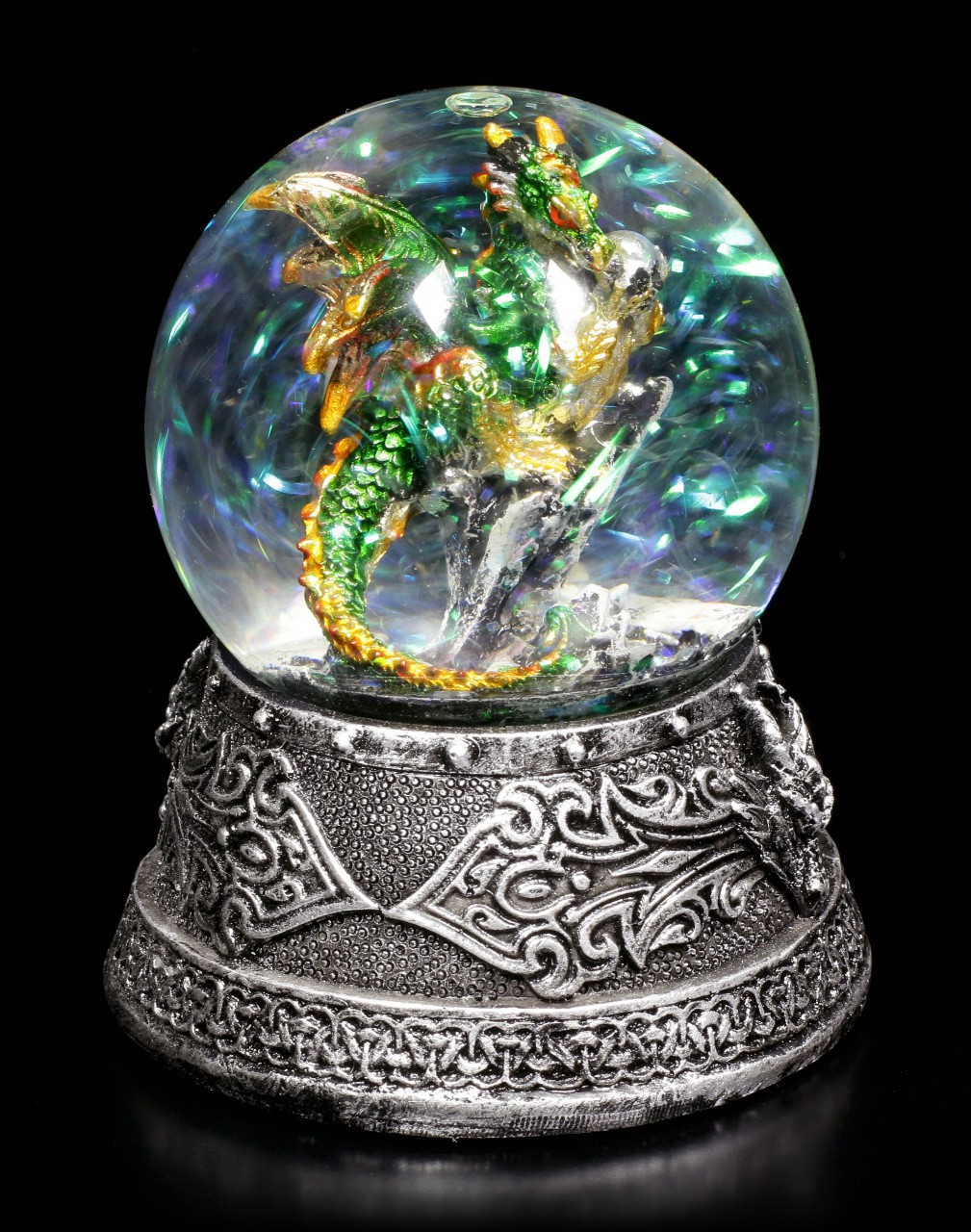Schneekugel mit Drache - Enchanted Emerald