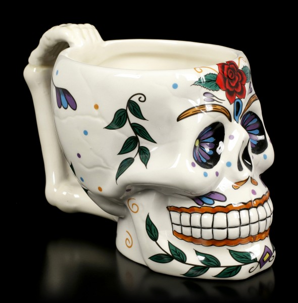 Skull Mug - Day of the Dead - Red Rose