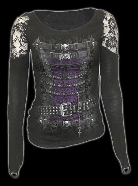 Netz Langarmshirt Damen Gothic - Waisted Corset