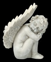 Garden Figurine - Angel crouching with large Wings