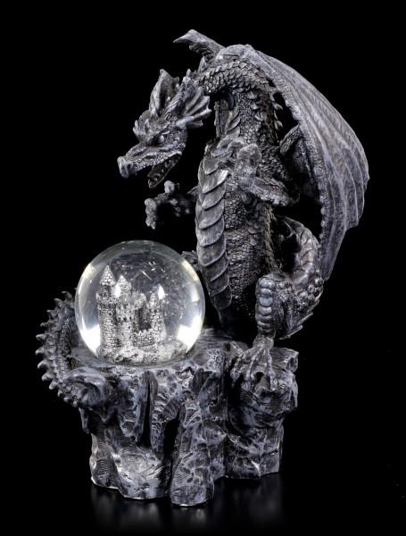 Drachen Figur mit Burg Schneekugel