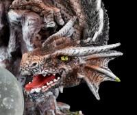 Große Drachen Figur - Dracora mit Jungtier
