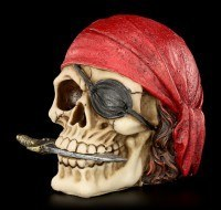 Totenkopf - Pirat mit rotem Kopftuch