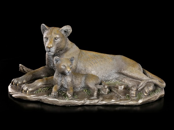 Lion Figurine with Puppy