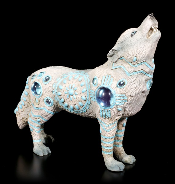 Wolf Spirit Figurine - Indian Turquoise with Gemstones