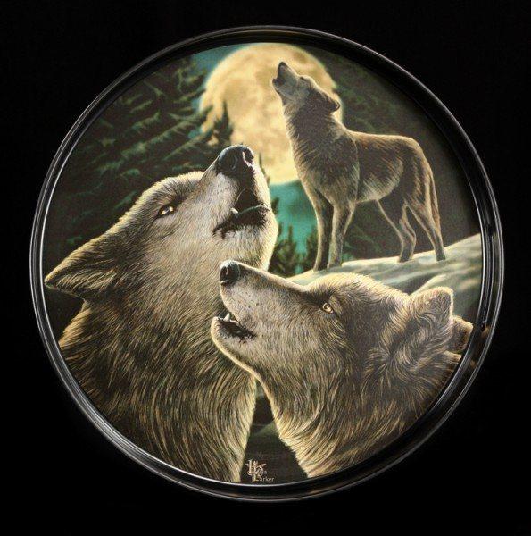 Rundes Tablett Fantasy - Wolf Song