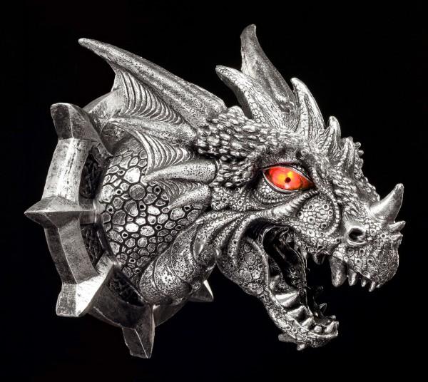 Drachen Wandrelief - Der Kopf des Ferox mit LED