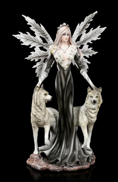 Elfen Figur - Dark Fairy mit Wölfen