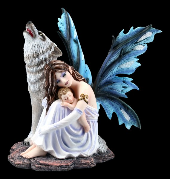 Fairy Figurine - Mary with Baby and Wolf