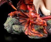 Große Elfen Figur - Beschützt durch roten Drachen