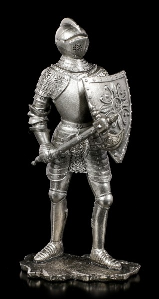 Pewter Knight Figurine with Sword and Shield