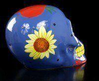 Mexikanischer Totenkopf - Keramik blau