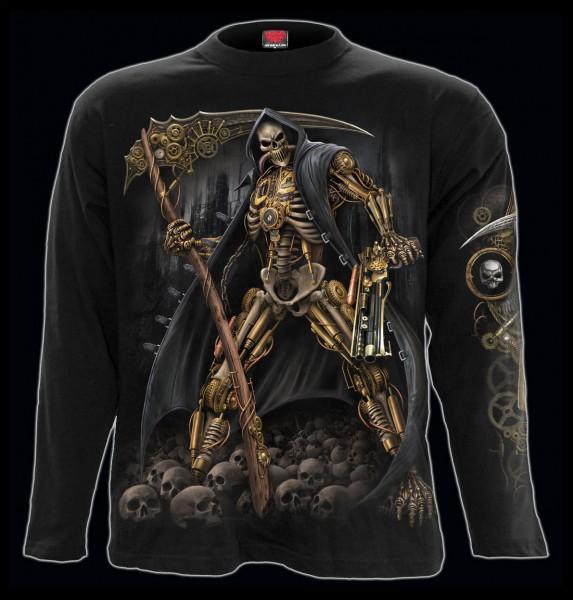 Spiral Reaper Langarmshirt - Steampunk Skeleton