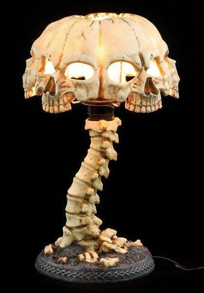 Totenkopf Tischlampe mit Wirbelsäule