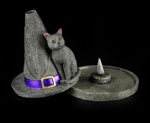 Räucherkegelhalter - Hexenhut mit Katze