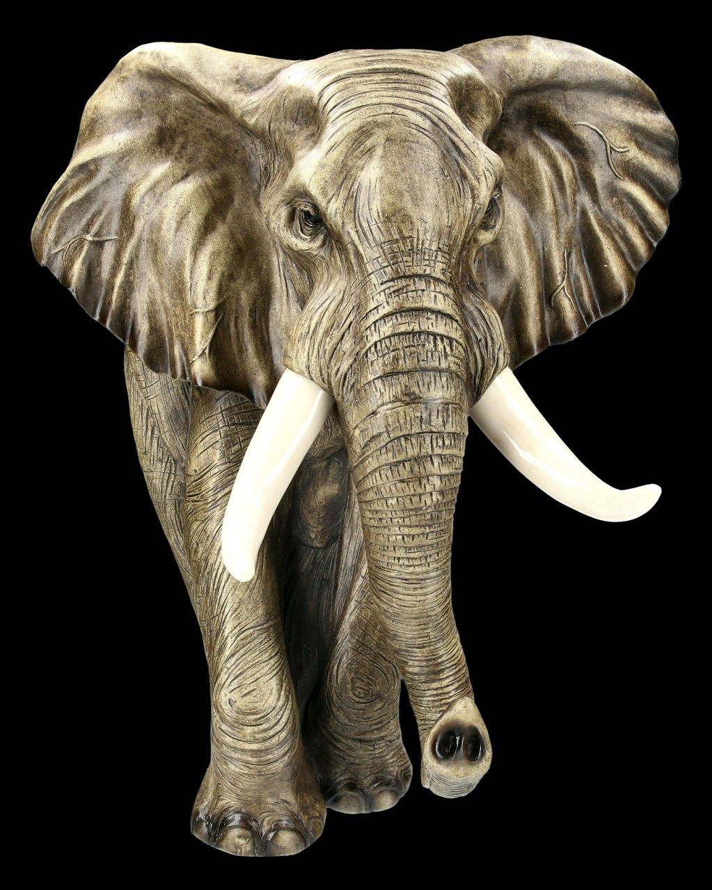 Wandrelief - Elefant Gartenfigur