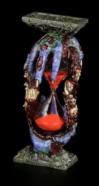 Sanduhr mit Zombiehänden und Schädeln