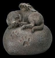 Tier Urne - Hunde-Engel auf Herz in Steinoptik