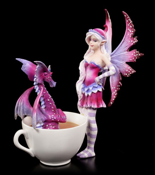 Cup Fairy Figurine with Dragon