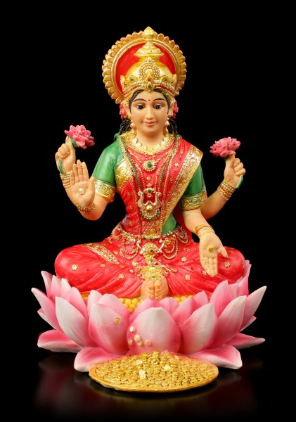 Lakshmi Figurine on Lotus Flower